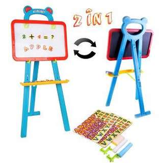 Easel magnetic chalk and white board with stand