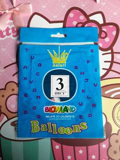 NUMBER 3 BALLOONS