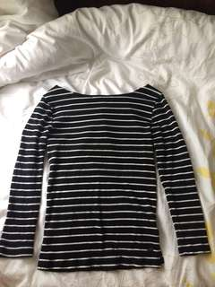 Stripped wide neck 3/4 sleeve length shirt