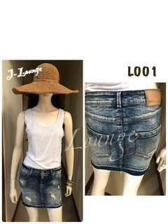 🚚 L001全新加拿大潮牌only超好質感彈力包覆深色刷破不修邊個性設計感牛仔裙單寧美式休閒retro denim skirt J-Lounge