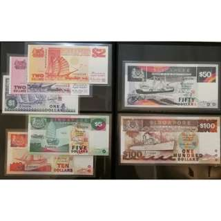 Singapore Ship Series Dollar Notes Set, $100, $50, $10, $5, $2, $2, $1