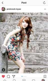 Mini Dress Bunga dengan busa di pundak fit body