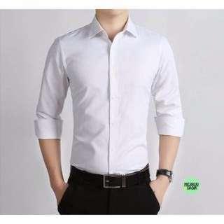 Kemeja Lengan Panjang putih polos Slim Fit Pria