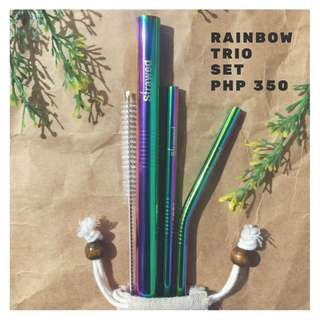 Colored Metal Straws in Trio Set
