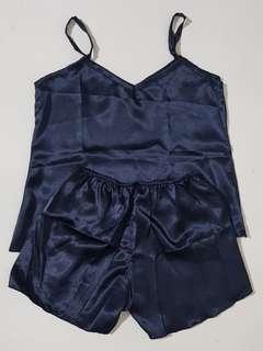 Lille Basic Silk Sleepwear Set (Midnight Blue)