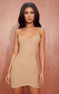 Camel Strappy Wrap Skirt Bodycon Dress