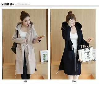 Zip Up Hooded Drawstring Trench Coat 093238 FM