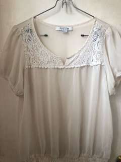 F21 Cream Sheer Blouse