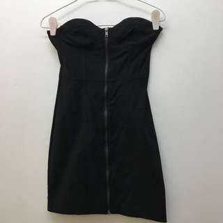 🚚 H&m Zipped Black Boycon Bustier Dress