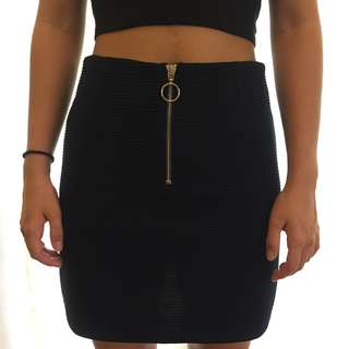 Dark Blue Zip down Skirt