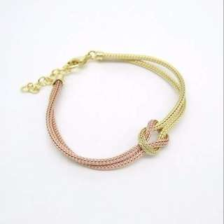 925 silver gold plated & rose gold plated knot bracelet 925純銀鍍金及鍍玫瑰金手鏈