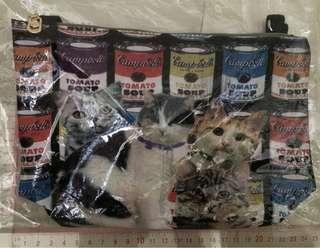 全新 3 款 貓貓圖案 袋 (每款内連毛毛料袋)圖為大約呎吋 日本旅行時買既 每款一個