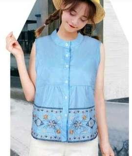 Embroidered sleeveless