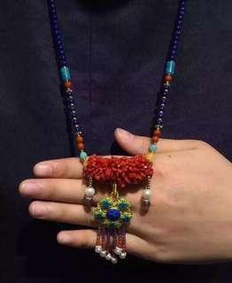 天然青金石珊瑚毛衣鏈 s925銀 珍珠 南紅 天河石 蜜蠟