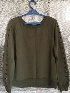 Army green pullover with sleeve details