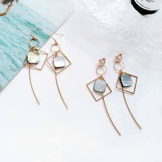 【現貨】韓國復古幾何黑蝶貝殼浮誇長款耳鉤耳夾耳環