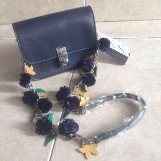 Zara Navy Pompom Crossbody Bag