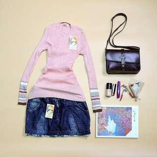 🚚 全新粉紅針織上衣/韓版牛仔短裙/超值套裝組