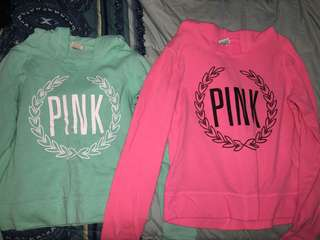 Wmns PINK Sweater Shirts (Shirts w Hoodie)