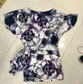 Cortefiel drop shoulder floral dress medium