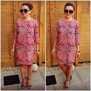 Topshop neon leopard print shift dress small