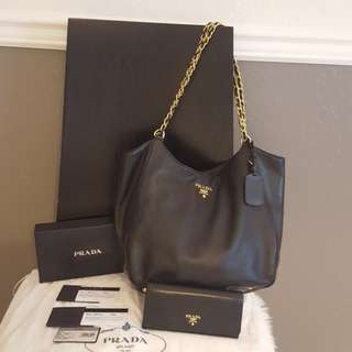 Authentic Leather Prada set of bag and wallet