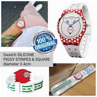 Jam Tangan Swatch Original Piggy Stripes
