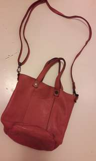 Genuine Leather Tote Bag Peach colour