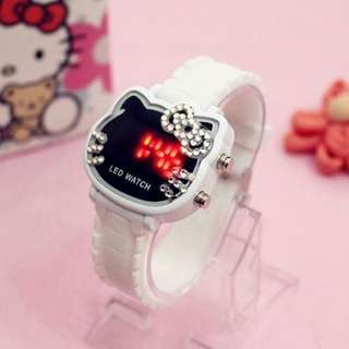 LED Digital Hello Kitty Diamond Jelly Belt Watch