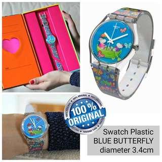 Jam Tangan Swatch Original Blue Butterfly
