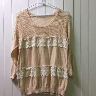 🚚 粉色薄針織罩衫上衣