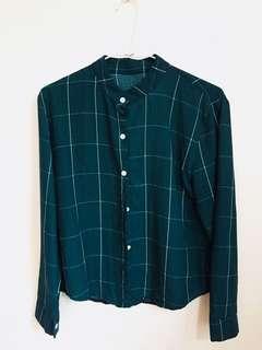 🚚 韓系立領綠色格紋襯衫
