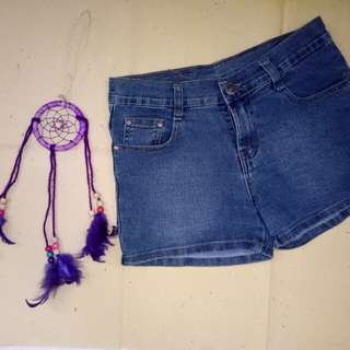 Denim Shorts with Floral Design at the Back Pocket