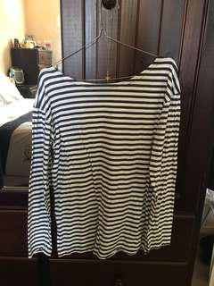 STRIPE LONG SLEEVE ROUND NECK TOP S/M