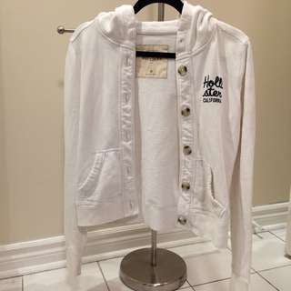 White hollister button up hoodie