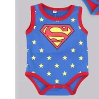 🚚 [CLEAR STOCK] [FREE POSTAGE] SUPERMAN SINGLET ROMPERS FOR BABY TODDLER CHILDREN KIDS BLUE STARS COTTON MATERIAL NEW BORN