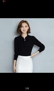 Buy1 Take1 Women Long Sleeve Blouses Chiffon Solid Bow Tops