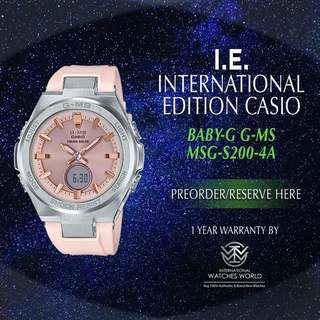 CASIO INTERNATIONAL EDITION BABY G GM-S PINK MSG-S200-4A