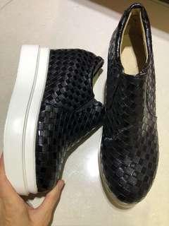全新內增高厚底編織鞋42