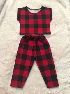 GUC Terno Crop top and leggings plaid 3T