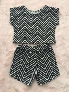 EUC Terno Crop top and shorts zigzag print 2T