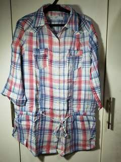 Polo shirt checkered (mini dress)