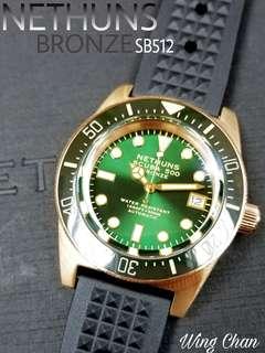 陶瓷圈 NETHUNS SCUBA SB512 跟獨立編號 銅殼 膠帶 夜光 綠圈綠面