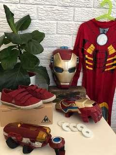 Ironman costume set, shoes size 33 jumpsuit 8.