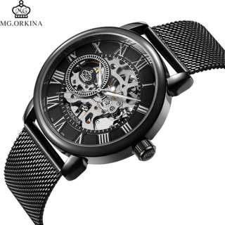 Men Watches Mechanical Hand Wind Luxury Top Brand ORKINA Skeleton Stainless Steel Bracelet Mesh Strap Men's Watches