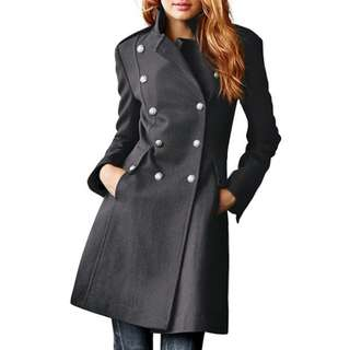 Elegant Lapel Long Sleeve Double-Breasted Wool Coat