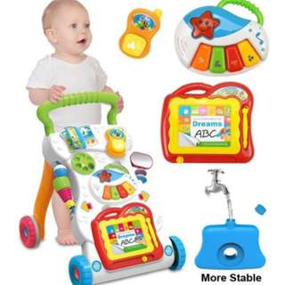 4 in 1 Children Music Walker Baby Learn Walk Stand Trolley #July70