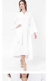 Aere White Midi Dress