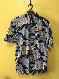 Navy Blue Printed Buttondown