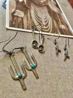 🚚 印地安 Navajo 銀飾 耳環 925 老鷹 仙人掌 球拍 復古 vintage 綠松石 嬉皮